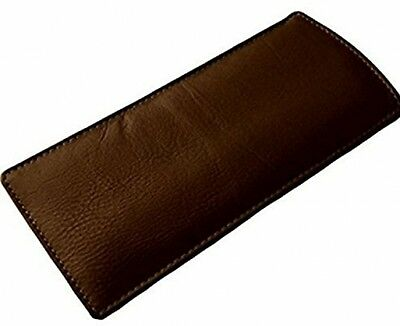 Durable Slim Soft Leather Eye Reading Glasses Case Sunglasses Protector (Brown)