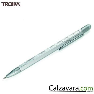 TROIKA Portamine 0,7 Construction - Righello-Scalimetro-Pennino Touch - Silver