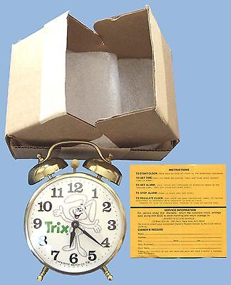 1970's - GENERAL MILLS TRIX RABBIT MAIL-AWAY PREMIUM WIND-UP ALARM CLOCK - BOXED