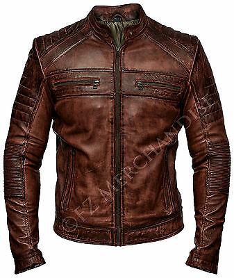 Mens Biker Vintage Antique Brown Cafe Racer Real Leather Jacket