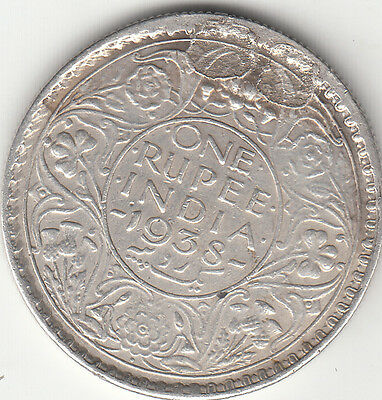 1938 George Vi King British India One Rupees Silver Coins V Rare