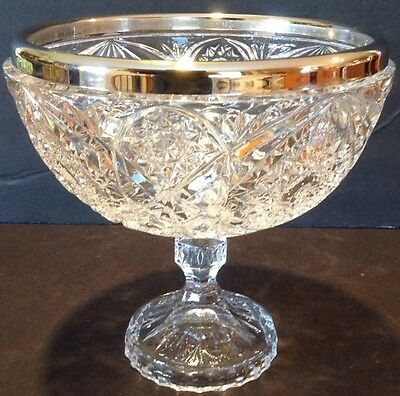 Antique Beautiful Pedestal Cut Crystal Glass Compote Bowl Silver Rim Star Design