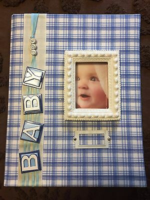NEW Blue Plaid  BOY BABY Memory Book / keepsake Photo album ~ 20 fun pages