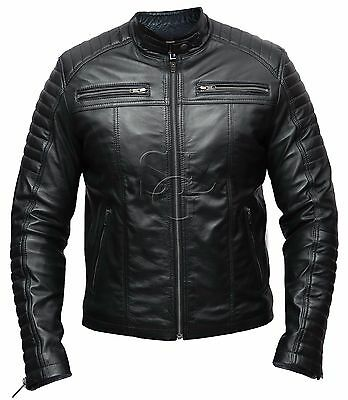 Mens Biker Classic Diamond Racer Black Soft Real Leather Jacket