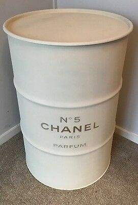 Cream/Ivory with Gold Chanel Logo Embossed Storage Drum Oil Drum
