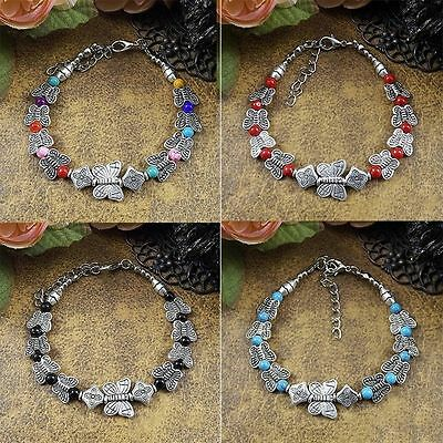 Beaded Turquoise Adjust Chain Tibetan Silver Bangle Jewelry Butterfly Bracelet