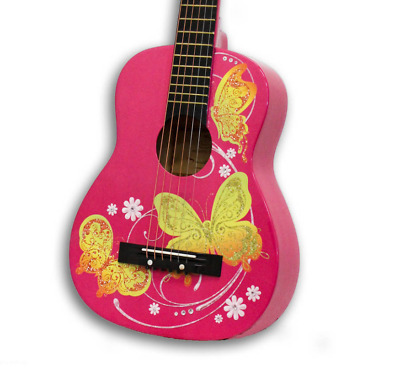 Pink Girls Acoustic Guitar ,Winged Hearts ,Age Range: 4 and up ,Great girl gift