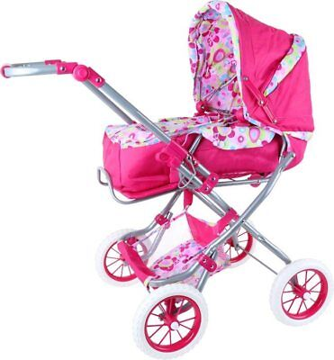 Pram for dolls coloured toy for easy girls. to carry