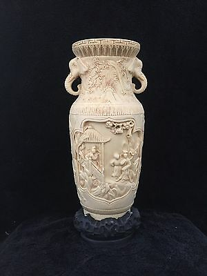 Chinese  Resin Carved Vase with Elephant Handles,  26 cm height
