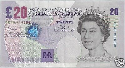BANK OF ENGLAND £20 TWENTY POUNDS # 888888  SOLID 8's UK GREAT BRITAIN BANKNOTE