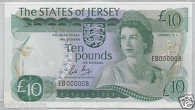 The States Of Jersey  £10  Ten Pounds  #eb 000008  Low Serial #8 Unc Banknote