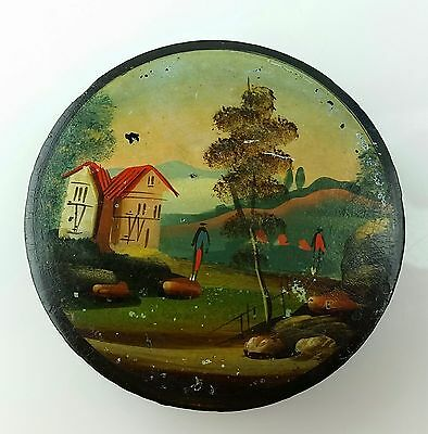 Antique Miniature Hand Painted Country Farm Stash Snuff Box  Mourning Frame?