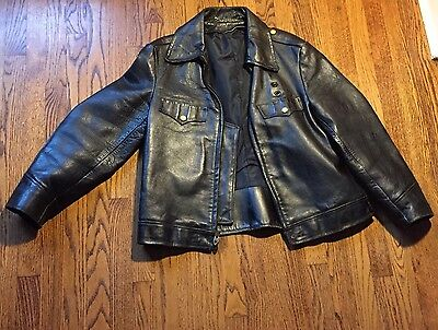 Vintage 1940-50s  Leather Policemans Motorcycle Horsehide Jacket Sz L RARE