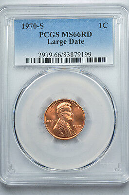 1970-S Lincoln Memorial cent Large Date PCGS MS66RD