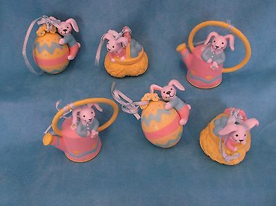 Lot of 6 Avon Easter  Bunny Ornaments w/ Boxes