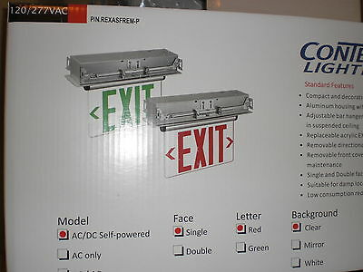 NEW ConTech Lighting RED LED Edge Lit EXIT SIGN Battery Backup Ceiling/Wallmount