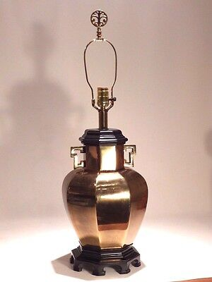 Vintage Ethan Allen Hollywood Regency Chinese Asian Brass Ginger Jar Table Lamp