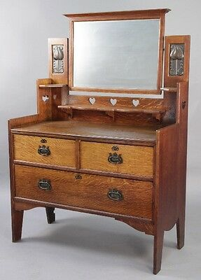 1910 Arts & Crafts Dresser w Brass & Original Mirror Antique Craftsman (10194)