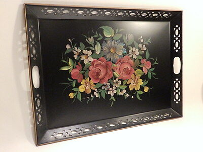 "Vintage Nashco Large 25"" Black/Gold Tole Toleware Roses/Flower Handpainted Tray"