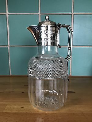 Antique CUT CRYSTAL Decanter Pitcher w/ Silver Plated Spout & Handle VTG