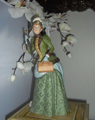 Porcelain Figurine Victorian Lady With Umbrella Beautiful Style