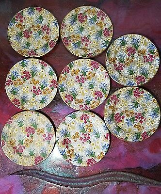 "Royal Winton ""Marguerite"" Chintz Side Plates Set of 8 - 6.25"""