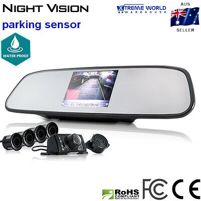Complete Car Reversing Kit - Rear View Camera and Mirror + Parking Sensor