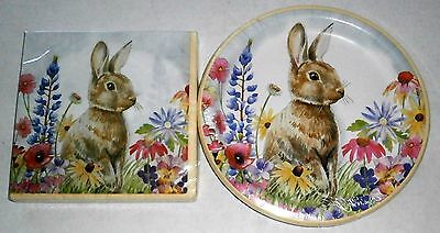 EASTER Paper Plates and Luncheon Napkins  SPRING RABBIT