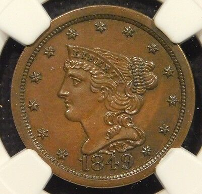 NGC MS63 1849 1/2C BN Braided Hair C1 Large date