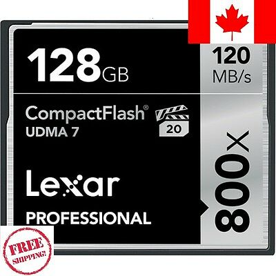 Lexar Professional 128GB 800x CompactFlash-Ships Fast from Canada-No Import Fees