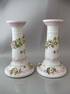 Antique Vtg Bohne Dresden Porcelain Flower Bugs Insects Candle Stick Holder Pair