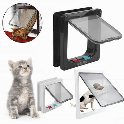 White Brown Cat Dog Pet Kitten 4 Way Flap Door Lock Safe Lockable Lock Door New
