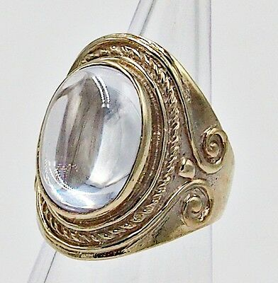 Huge Men Ring Clear Crystal Syn Cabochon Solitaire Bronze Silver Vtg Re Size 9.5