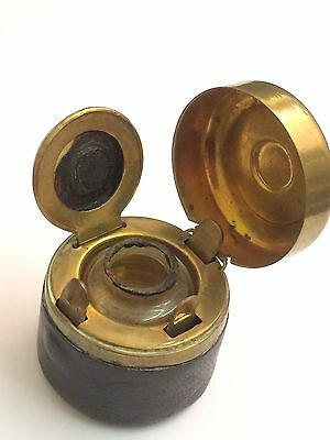 Traveling Inkwell Marked KKPR, leather And Brass.