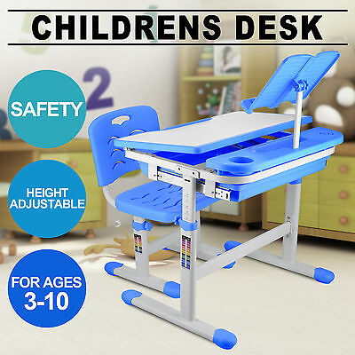 Adjustable Height Kids Study Desk Chair Ergonomically Blue Fastness High Quality