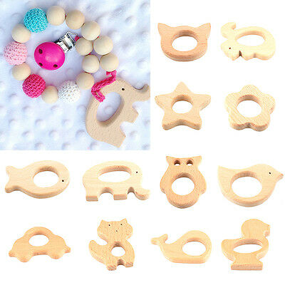 Handmade Natural Wooden Animal Shape Baby Teether Teething Toy Shower Gift