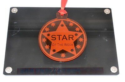 7 cm Diameter Perspex Star of the Week Award Medal. Ideal for School and Workpla