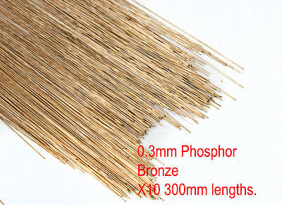 10 X 0.3mm diameter phosphor bronze modellers wire. 300mm lengths.
