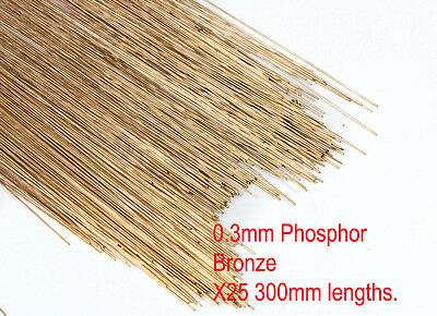25 X 0.3mm diameter phosphor bronze modellers wire. 300mm lengths.