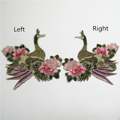 2x BRIGHT PINK PEACOCK BIRD 18cm  Embroidered Sew Iron On Cloth Patch Applique