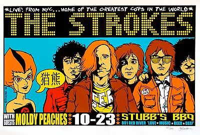 The Strokes Poster w/ The Moldy Peaches 2001 Concert