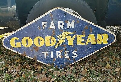 Goodyear Farm Tires Porcelain Sign 46 1/2 x 26 1/2 inches