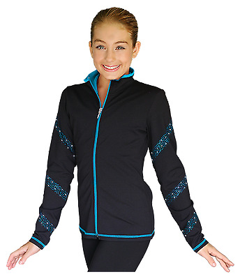 New Chloe Noel Skating Jacket Black And Turquoise With Crystals JS96 CXS