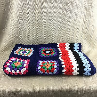 Vintage Blanket Granny Square Afghan Throw Handmade Crochet Blue Red White Vtg