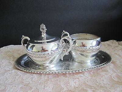 Regency Silver Plate Creamer Covered Sugar Gorgeous Tray Gadroon Pattern Vintage