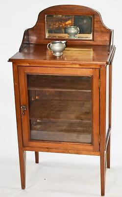 Antique Mahogany Glazed Display Cabinet Cupboard Sideboard with Mirror  [PL3345]