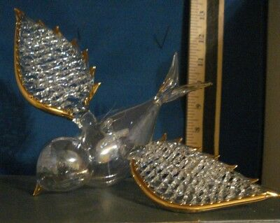 Bird Ornament Large Clear Glass Wren with Spun Wings 81376 146 214