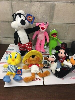 PEPE LE PEW Skunk Plush Toy  Lot , Disney , Kermit , Pink Panther TAGS