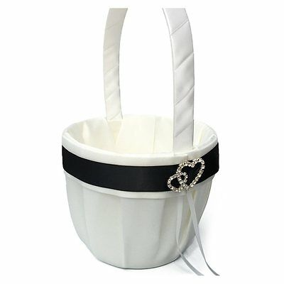 Flower Girl Basket for Wedding Collection Traditional White+black P9R4