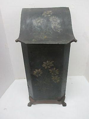 Antique Victorian Metal Coal Scuttle With Inner Can Flower Design Claw Feet